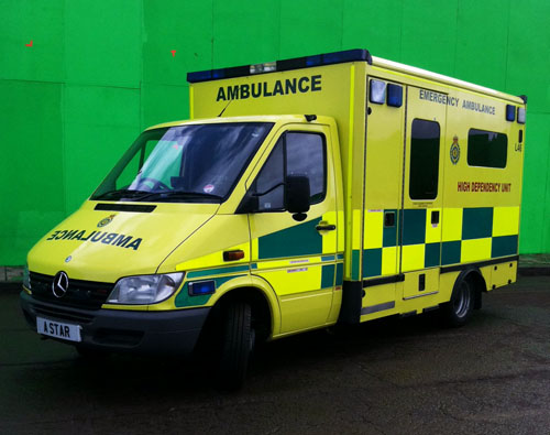 Private Ambulances for Hire. The ambulance is set on a chroma key backdrop here at pinewood studios.